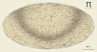 2017 Pi Day Star Chart Hammer/aitoff Projection Poster