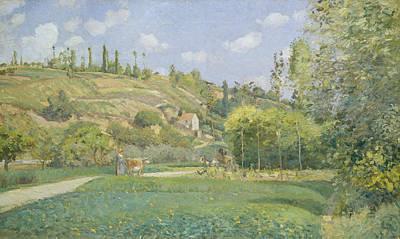 A Cowherd At Valhermeil, Auvers-sur-oise Poster by Camille Pissarro