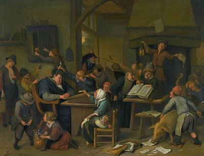 A Riotous Schoolroom With A Snoozing Schoolmaster Poster by Jan Havicksz
