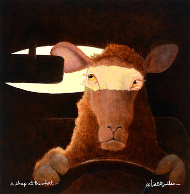 Poster featuring the painting A Sheep At The Wheel... by Will Bullas