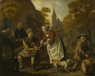 A Village Scene With A Cobbler Poster by Jan Victors