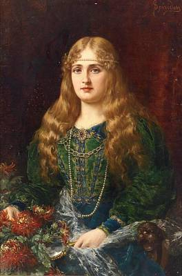 A Young Lady In A Historical Costume Poster by Ignace Spiridon