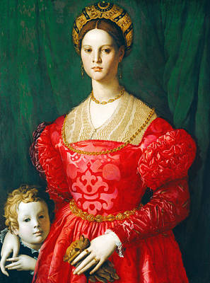 A Young Woman And Her Little Boy Poster by Bronzino