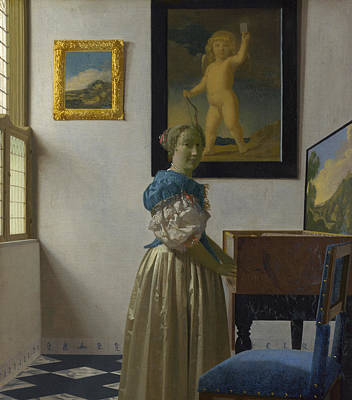 A Young Woman Standing At A Virginal Poster by Johannes Vermeer