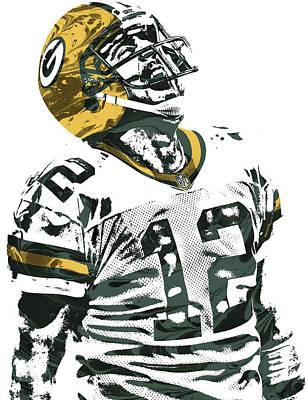 Aaron Rodgers Green Bay Packers Pixel Art 4 Poster by Joe Hamilton