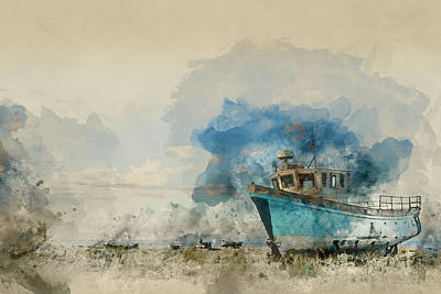 Abandoned Fishing Boat On Beach Landscape At Sunset Poster by Matthew Gibson