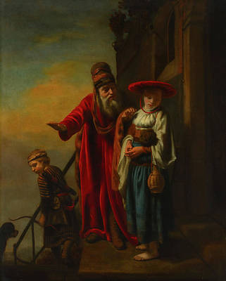 Abraham Dismissing Hagar And Ishmael Poster by Nicolaes Maes