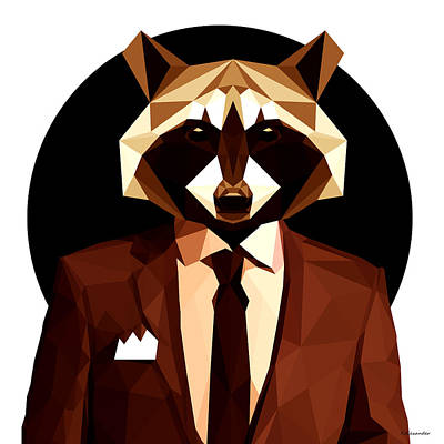 Abstract Geometric Raccoon Poster