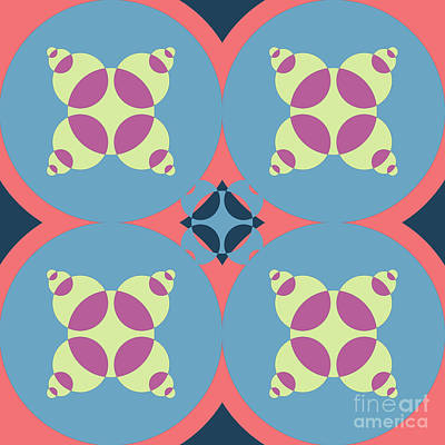 Abstract Mandala White, Pink And Blue Pattern For Home Decoration Poster