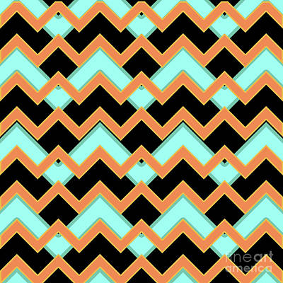 Abstract Orange, Black And Cyan Pattern For Home Decoration Poster by Pablo Franchi