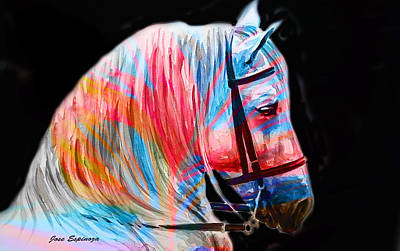 Poster featuring the painting Abstract White Horse 19 by J- J- Espinoza