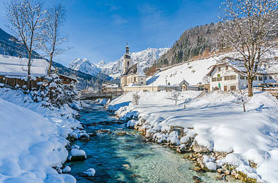 Alpine Winter Beauty With Snowy Church And River Poster by JR Photography
