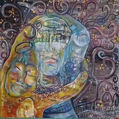 2 Angels Hugging Environmental Warrior Goddess Poster