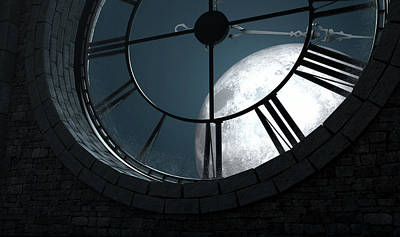 Antique Backlit Clock And Moon Poster by Allan Swart