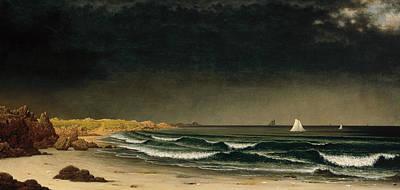 Approaching Storm Beach Near Newport Poster by Martin Johnson Heade