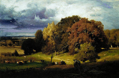 Autumn Oaks Poster by George Inness