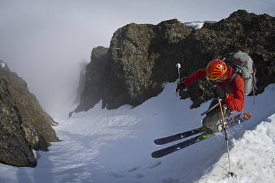 Backcountry Skier On West Twin Peak Poster by Joe Stock