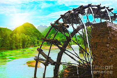 Bamboo Water Wheel Poster by MotHaiBaPhoto Prints