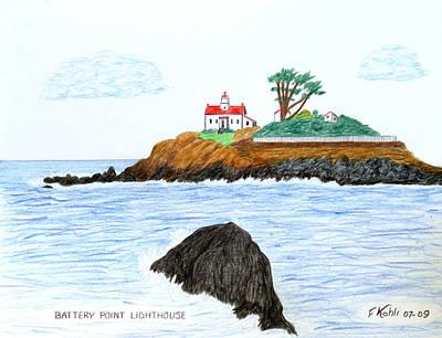 Battery Point Lighthouse Poster by Frederic Kohli