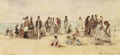Beach Scene Poster by Eugene Louis Boudin