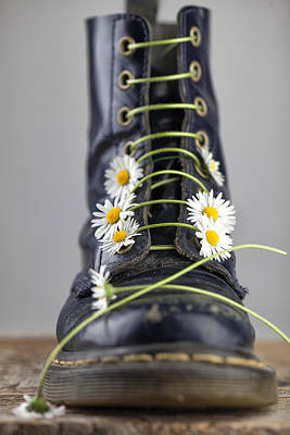 Boots With Daisy Flowers Poster