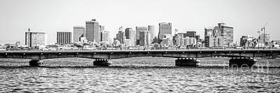 Boston Skyline Black And White Panorama Photo Poster
