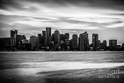 Boston Skyline Black And White Picture Poster