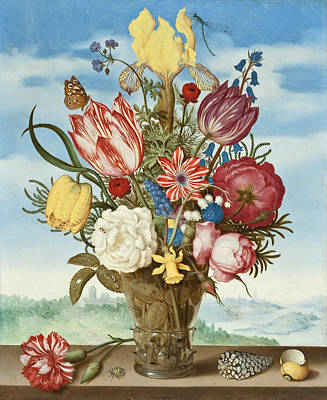 Bouquet Of Flowers On A Ledge Poster by Ambrosius Bosschaert