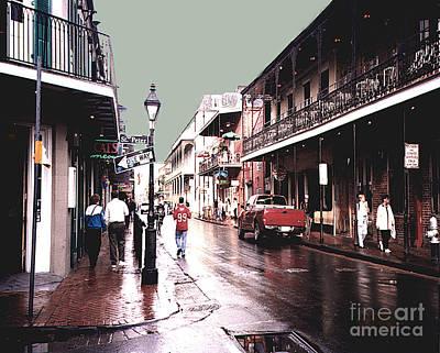 Bourbon Street After The Rain Poster by Merton Allen