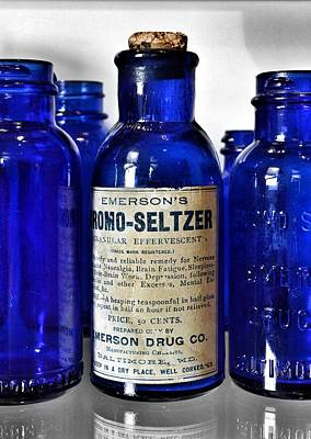 Poster featuring the photograph Bromo Seltzer Vintage Glass Bottles Collection by Marianna Mills
