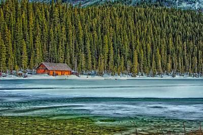 Cabin On Lake Louise Poster