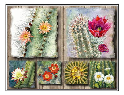 Cactus Collage Poster by Marilyn Smith