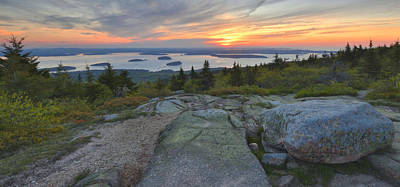 Poster featuring the photograph Cadillac Mountain Sunrise by Stephen  Vecchiotti