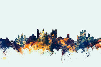 Cambridge England Skyline Poster by Michael Tompsett