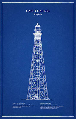 Cape Charles Lighthouse - Virginia - Blueprint Drawing Poster