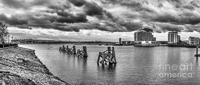 Cardiff Bay Panorama Mono Poster by Steve Purnell