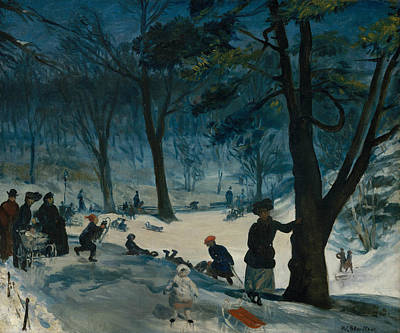 Central Park, Winter Poster by William Glackens