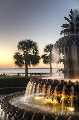 Charleston Pineapple Fountain Sunrise Poster