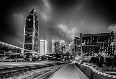 Charlotte Nc Usa Skyline During And After Winter Snow Storm In January Poster