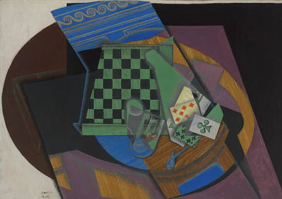 Checkerboard And Playing Cards Poster by Juan Gris
