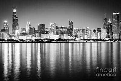 Chicago Skyline Black And White Photo Poster
