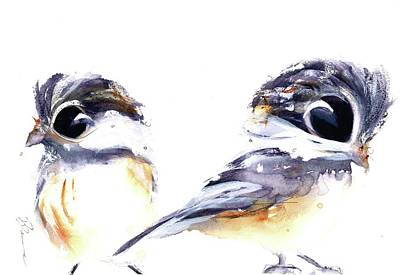 Poster featuring the painting 2 Chickadees by Dawn Derman
