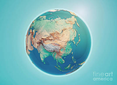 China 3d Render Planet Earth Poster