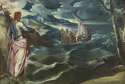 Christ At The Sea Of Galilee Poster by Tintoretto