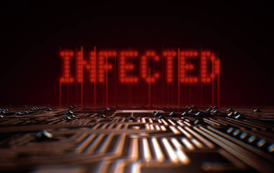 Circuit Board Infected Text Poster by Allan Swart