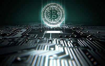 Circuit Board Projecting Bitcoin Poster by Allan Swart