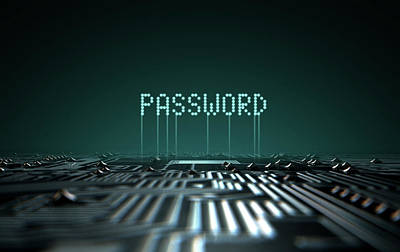 Circuit Board Projecting Password Poster by Allan Swart