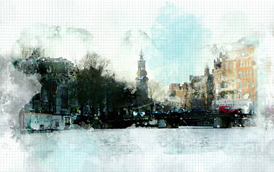 Poster featuring the digital art City Life In Watercolor Style by Ariadna De Raadt