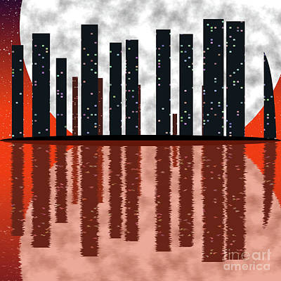 City Skyline At Full Moon Poster by Michal Boubin