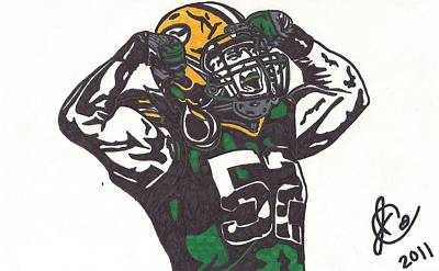 Poster featuring the drawing Clay Matthews 2 by Jeremiah Colley